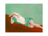 Reclining Nude With Green Silk Scarf