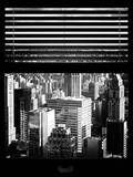Window View with Venetian Blinds: Cityscape Manhattan