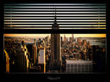 Window View with Venetian Blinds: Manhattan View with the Empire State Building (1 WTC)