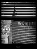 Window View with Venetian Blinds: Tops of Metlife and Chrysler Buildings