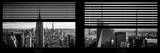 Window View with Venetian Blinds: Panoramic Skyline NYC with the Empire State Building and 1WTC