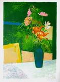 Bouquet au vase vert