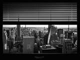Window View with Venetian Blinds: Skyline NYC with the Empire State Building and 1WTC