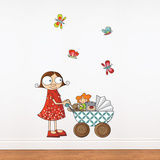 Lil Girl with Carriage Wall Decal