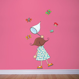 Little Girl with Butterflies Wall Decal