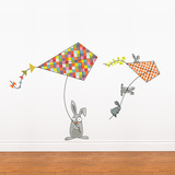 Bunnies and kites Wall Decal