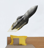 Grey Rocket Wall Decal