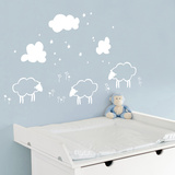 Little Sheeps - White Wall Decal