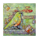 Minty Green Bird Print of a Painting