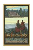 Canoers near Lake Crescent lodge