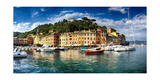 Wide View of Portofino Harbor  Liguria  Italy