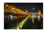 Scenic Night View of the Chapel Bridge  Lucerne