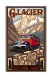 Glacier National Park Red Bus Reproduction d'art par Paul A Lanquist