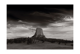 Last Light On Devils Tower BW