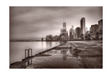 Chicago Foggy Lakefront BW