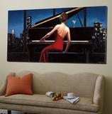 Dame en rouge Toile Murale Géante par Marco Fabiano