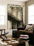 Vintage NY Brooklyn Bridge Toile Murale Géante par Michael Mullan