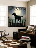Moonrise Black Dog - Labrador Lake Toile Murale Géante par Ryan Fowler