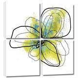 Citron Petals II 4 piece gallery-wrapped canvas