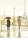 Paris Red Umbrella - Golden