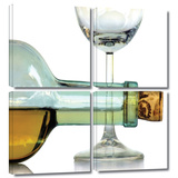 Bottle Plus Glass 4 piece gallery-wrapped canvas
