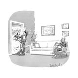 A couple who have just been married  walk through a door with confetti bei… - New Yorker Cartoon