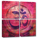 Om Mandala 4 piece gallery-wrapped canvas