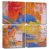 Dolphin 4 piece gallery-wrapped canvas
