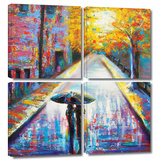 Paris Back Street Magic 4 piece gallery-wrapped canvas