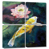 Koi and Lotus Flower 4 piece gallery-wrapped canvas