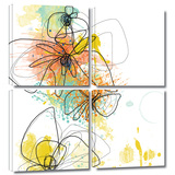Orange Botanica 4 piece gallery-wrapped canvas