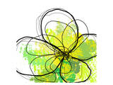 Green Abstract Brush Splash Flower