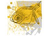 Poissons jaunes Reproduction d'art par Irena Orlov