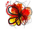 Red Abstract Brush Splash Flower I