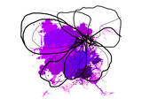 Purple Abstract Brush Splash Flower