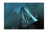 The Bow of the Titanic Hurtles Toward the Seafloor