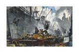 Men Unload Scrap Metal from a Ship