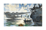 Servicemen Watch a Military Seaplane Taking Off from Water