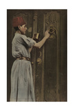 A Child Polishes the Brass Door Knocker on the Big Front Door