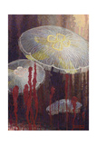 Painting of Three Aurelia Aurita Jellyfish of the Variety Flavidula