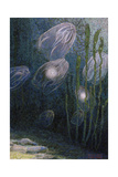 A Painting of Rainbow-Jellies  Mnemiopsis Leidyi  Floating in Water