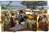 A Painting Depicts Spanish Traders in Acapulco  Mexico