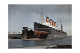 "The Cunard SS ""Mauretania"" at Dock for Her Semiannual Hull Cleaning"
