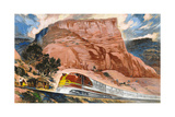 A Super Chief Train Speeds Through a Canyon on the Navajo Reservation