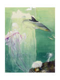 A Painting of Alaskan Undersea Wildlife and Icebergs