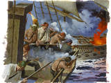A Painting Depicts Gunmen on the British Warship  Centurion