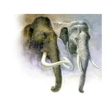 Painting Comparison of a Woolly Mammoth and an Asian Elephant