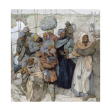 Painting of Harriet Tubman as She Escorts Escaped Slaves into Canada