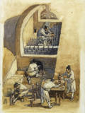 Depiction of Scene from Han Dynasty of Artisans in Pottery Workshop