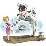 A Cruise Boat Captain Leers at a Passenger  Crossing His Fingers